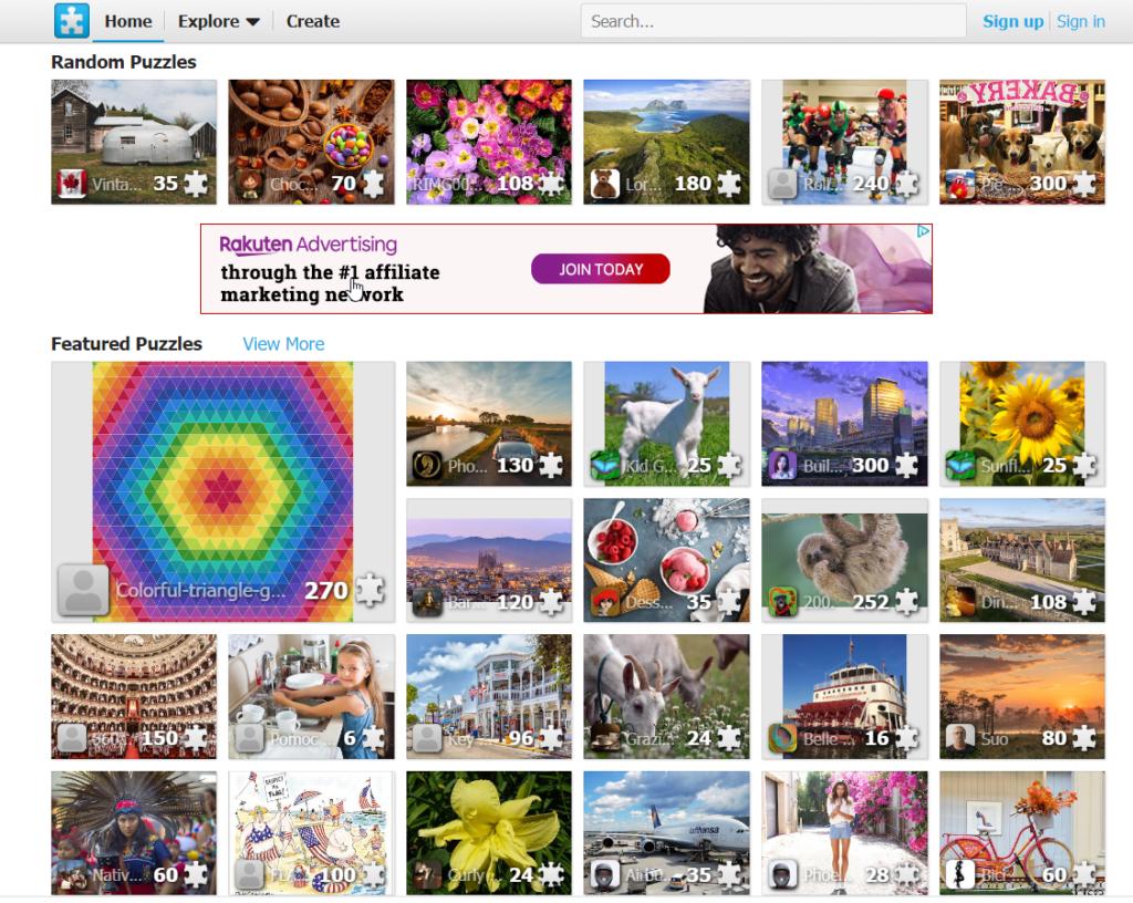 JigsawPlanet.COM home page